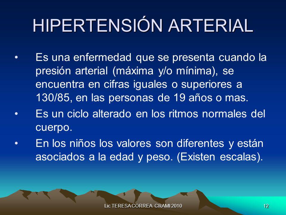 Lic TERESA CORREA CRAMI 201012 HIPERTENSIÓN ARTERIAL Es una enfermedad que se presenta cuando la presión arterial (máxima y/o mínima), se encuentra en cifras iguales o superiores a 130/85, en las personas de 19 años o mas.