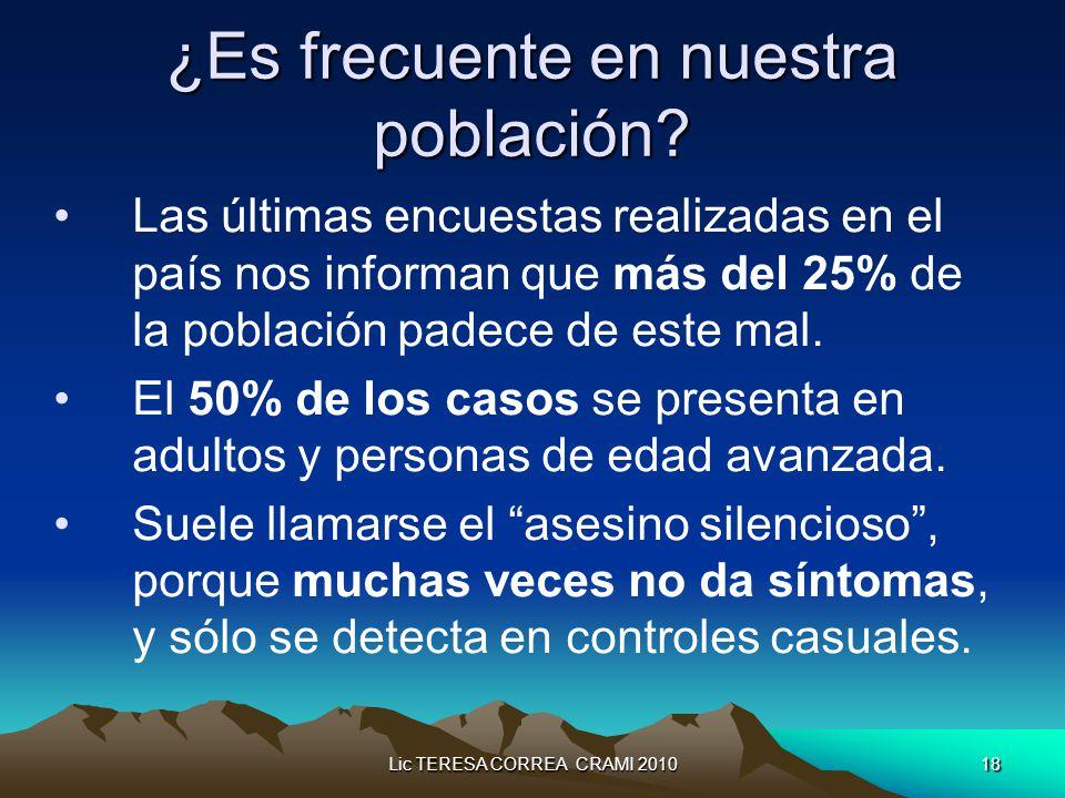 Lic TERESA CORREA CRAMI 201018 ¿Es frecuente en nuestra población.