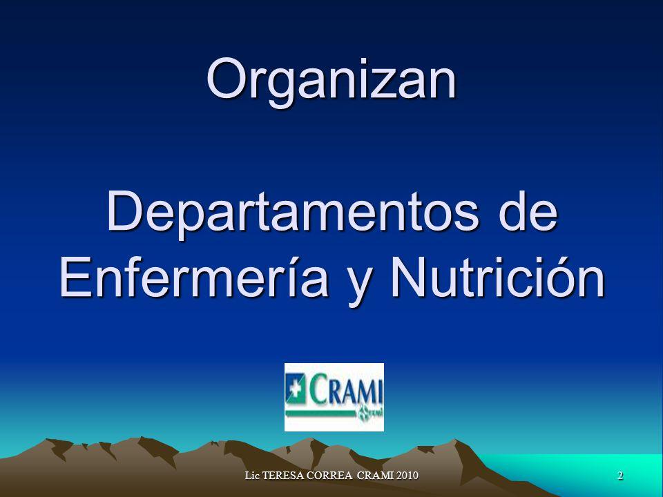 2Lic TERESA CORREA CRAMI 2010 Organizan Departamentos de Enfermería y Nutrición