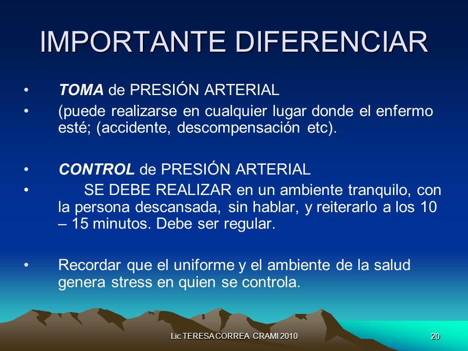 Lic TERESA CORREA CRAMI 201020 IMPORTANTE DIFERENCIAR TOMA de PRESIÓN ARTERIAL (puede realizarse en cualquier lugar donde el enfermo esté; (accidente, descompensación etc).