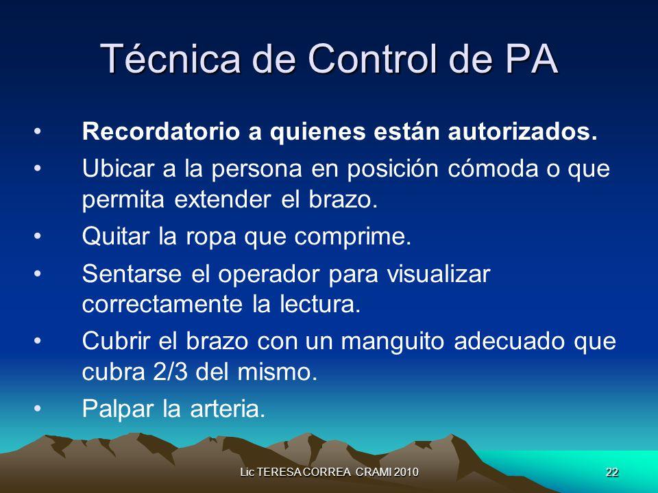 Lic TERESA CORREA CRAMI 201022 Técnica de Control de PA Recordatorio a quienes están autorizados.