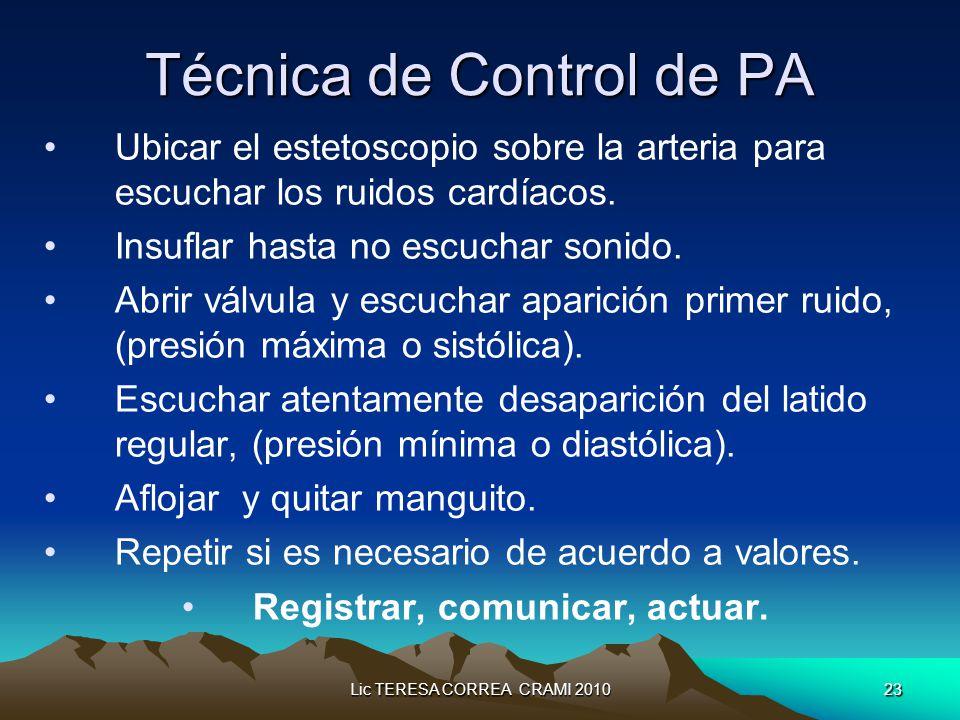 Lic TERESA CORREA CRAMI 201023 Técnica de Control de PA Ubicar el estetoscopio sobre la arteria para escuchar los ruidos cardíacos.