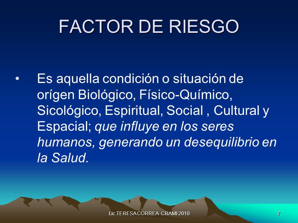 Lic TERESA CORREA CRAMI 20107 FACTOR DE RIESGO Es aquella condición o situación de orígen Biológico, Físico-Químico, Sicológico, Espiritual, Social, Cultural y Espacial; que influye en los seres humanos, generando un desequilibrio en la Salud.