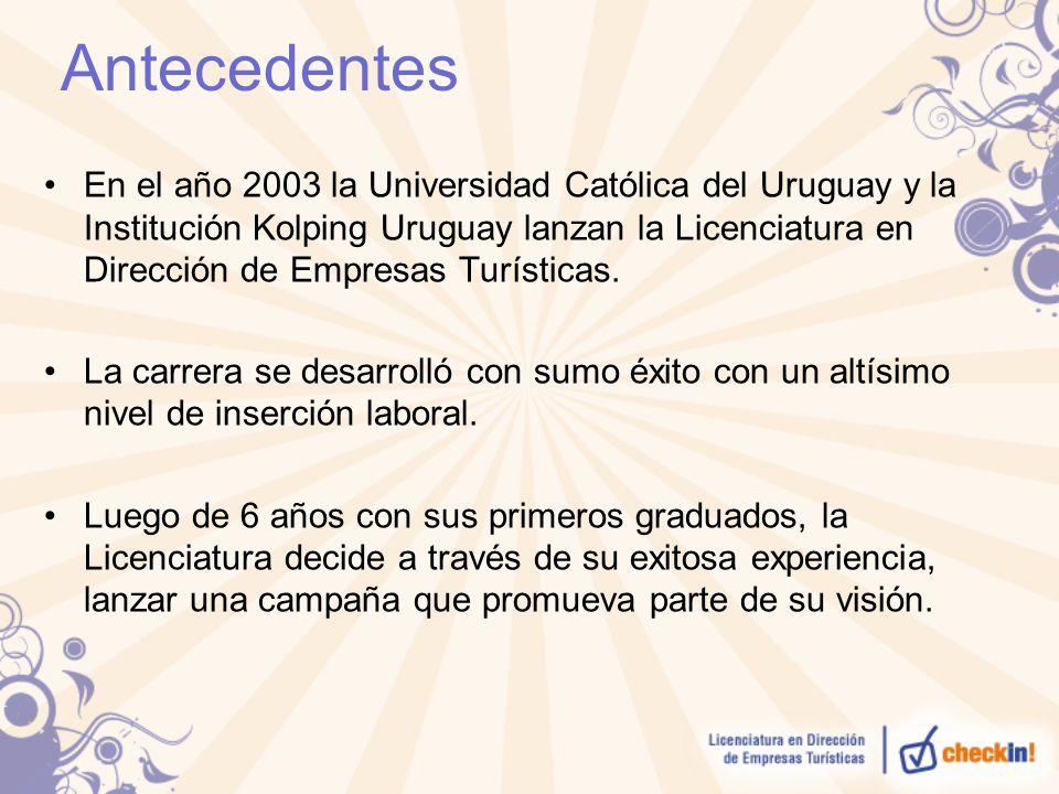 Antecedentes En el año 2003 la Universidad Católica del Uruguay y la Institución Kolping Uruguay lanzan la Licenciatura en Dirección de Empresas Turís