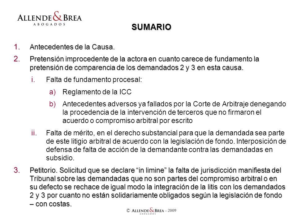 SUMARIO 1. Antecedentes de la Causa. 2.