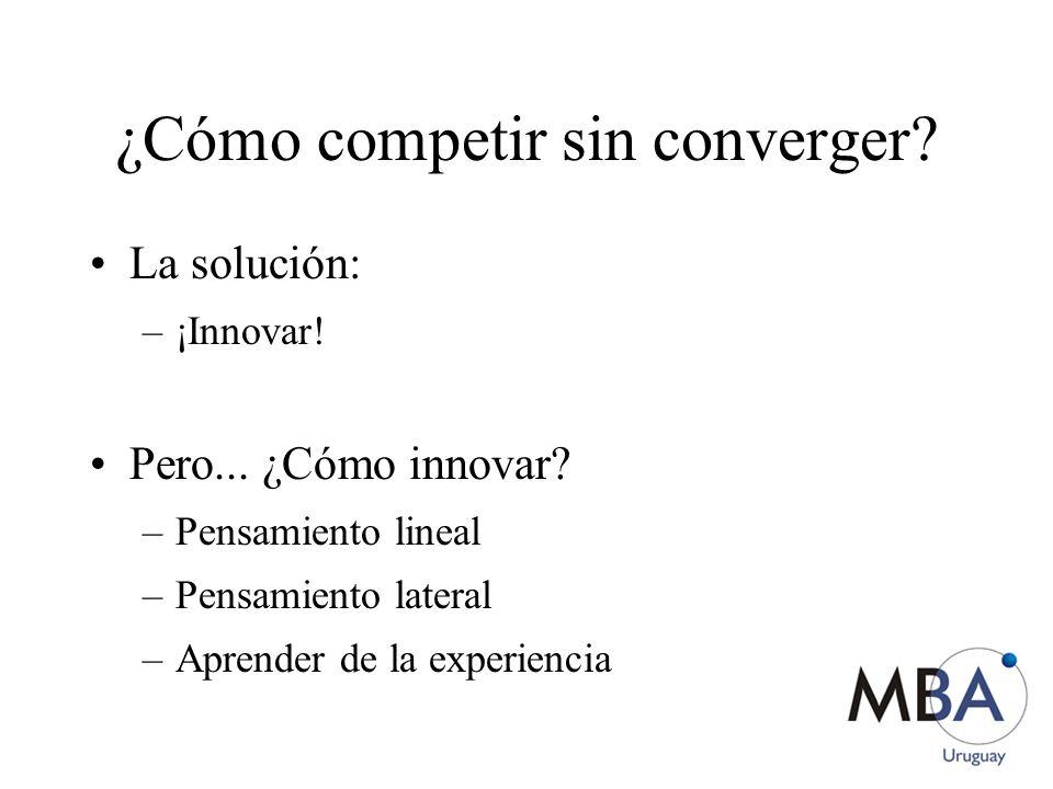 ¿Cómo competir sin converger? La solución: –¡Innovar! Pero... ¿Cómo innovar? –Pensamiento lineal –Pensamiento lateral –Aprender de la experiencia