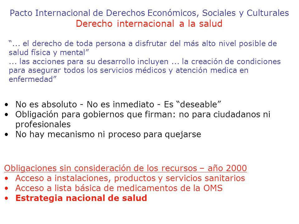 Pacto Internacional de Derechos Económicos, Sociales y Culturales Derecho internacional a la salud...