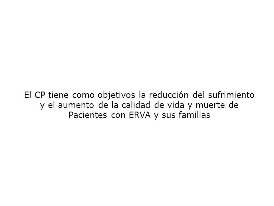El CP tiene como objetivos la reducción del sufrimiento y el aumento de la calidad de vida y muerte de Pacientes con ERVA y sus familias