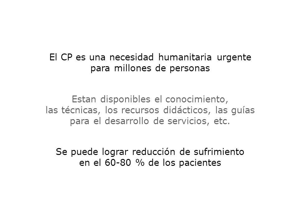 El CP es una necesidad humanitaria urgente para millones de personas Estan disponibles el conocimiento, las técnicas, los recursos didácticos, las guías para el desarrollo de servicios, etc.