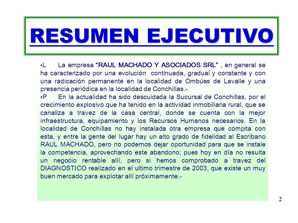 RESUMEN EJECUTIVO L La empresa RAUL MACHADO Y ASOCIADOS SRL, en general se ha caracterizado por una evolución continuada, gradual y constante y con un
