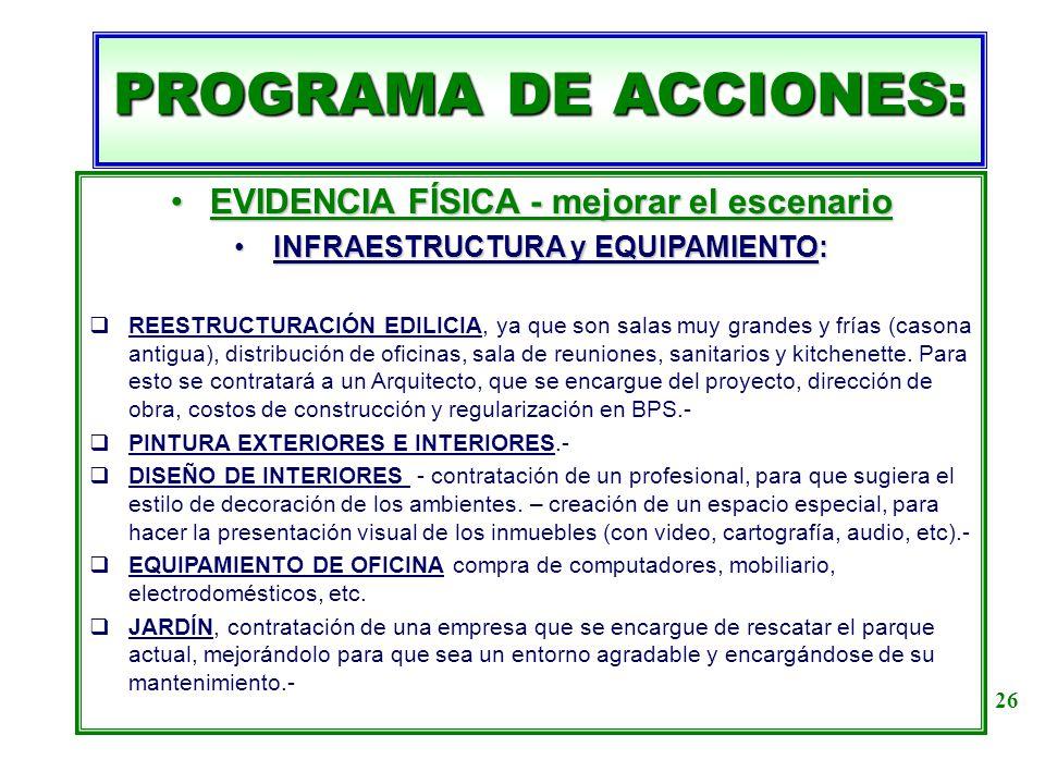 PROGRAMA DE ACCIONES: EVIDENCIA FÍSICA - mejorar el escenarioEVIDENCIA FÍSICA - mejorar el escenario INFRAESTRUCTURA y EQUIPAMIENTO:INFRAESTRUCTURA y