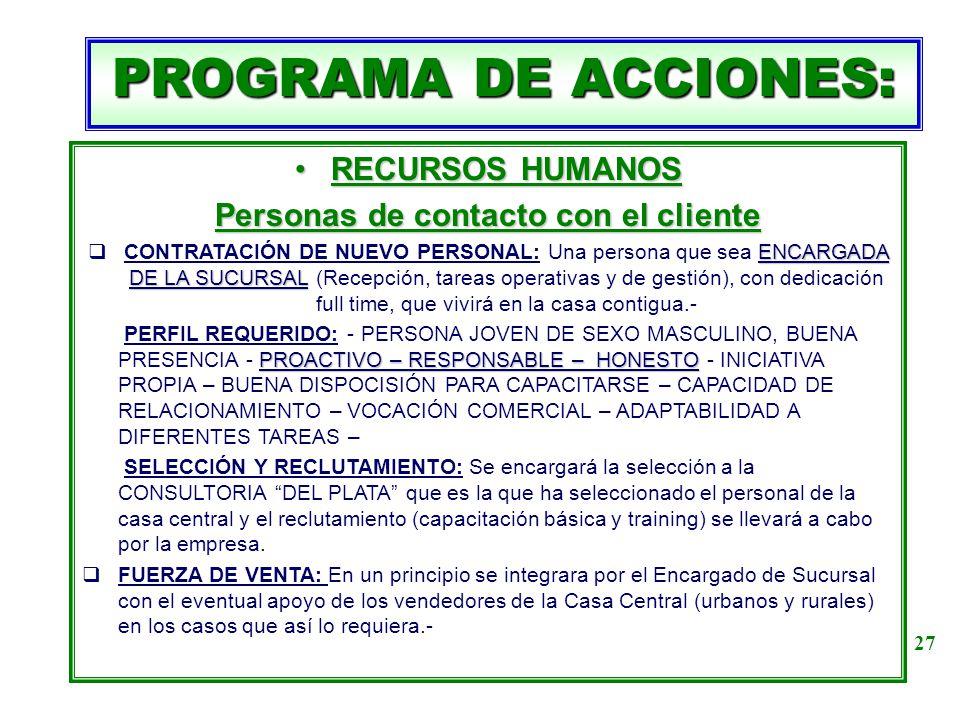 PROGRAMA DE ACCIONES: RECURSOS HUMANOSRECURSOS HUMANOS Personas de contacto con el cliente ENCARGADA DE LA SUCURSAL CONTRATACIÓN DE NUEVO PERSONAL: Un