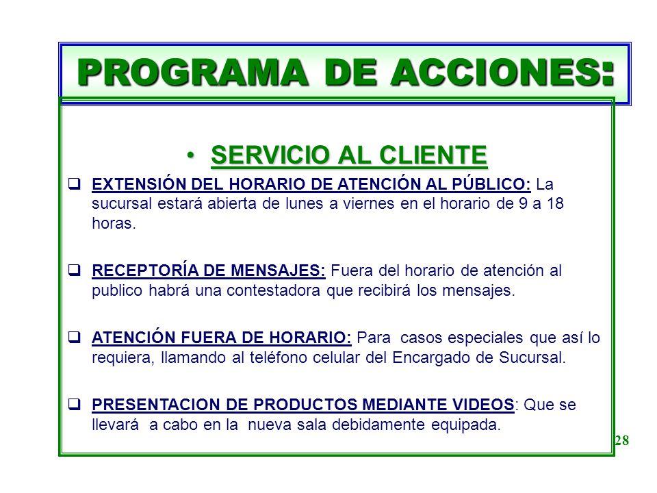 PROGRAMA DE ACCIONES : SERVICIO AL CLIENTESERVICIO AL CLIENTE EXTENSIÓN DEL HORARIO DE ATENCIÓN AL PÚBLICO: La sucursal estará abierta de lunes a vier