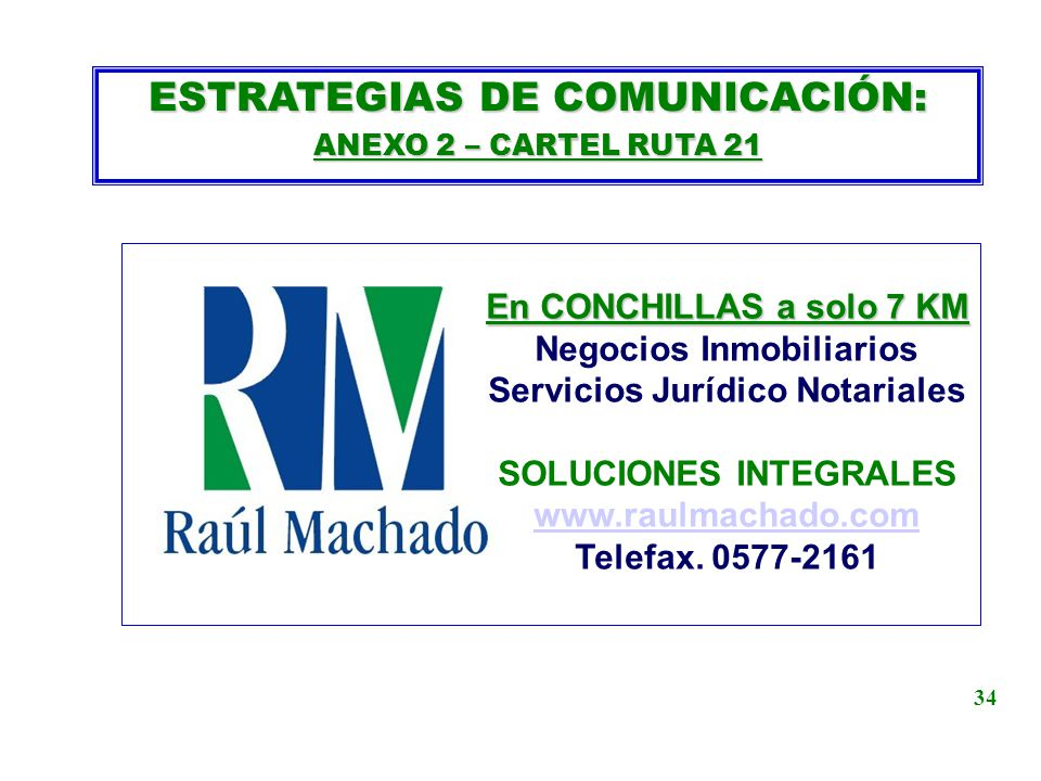 ESTRATEGIAS DE COMUNICACIÓN: ANEXO 2 – CARTEL RUTA 21 En CONCHILLAS a solo 7 KM Negocios Inmobiliarios Servicios Jurídico Notariales SOLUCIONES INTEGR