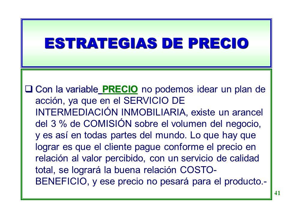 ESTRATEGIAS DE PRECIO Con la variable PRECIO Con la variable PRECIO no podemos idear un plan de acción, ya que en el SERVICIO DE INTERMEDIACIÓN INMOBI