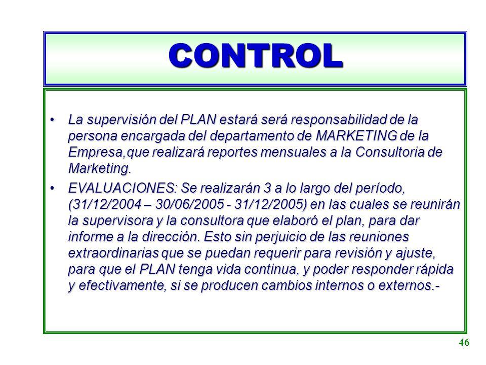 CONTROL La supervisión del PLAN estará será responsabilidad de la persona encargada del departamento de MARKETING de la Empresa,que realizará reportes