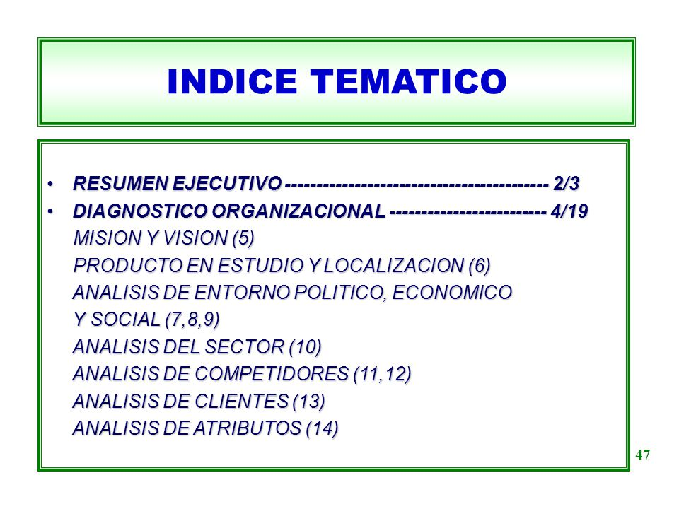INDICE TEMATICO RESUMEN EJECUTIVO ------------------------------------------ 2/3RESUMEN EJECUTIVO ------------------------------------------ 2/3 DIAGN