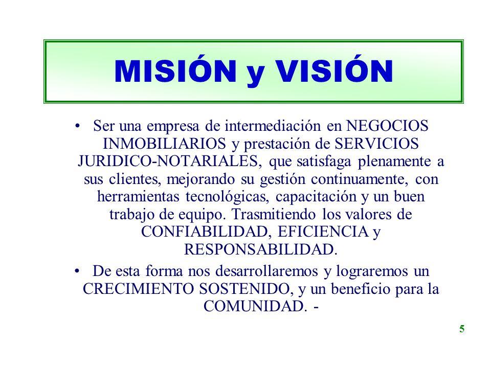 Ser una empresa de intermediación en NEGOCIOS INMOBILIARIOS y prestación de SERVICIOS JURIDICO-NOTARIALES, que satisfaga plenamente a sus clientes, me