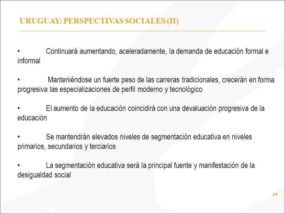 24 URUGUAY: PERSPECTIVAS SOCIALES (II) Continuará aumentando, aceleradamente, la demanda de educación formal e informal Manteniéndose un fuerte peso de las carreras tradicionales, crecerán en forma progresiva las especializaciones de perfil moderno y tecnológico El aumento de la educación coincidirá con una devaluación progresiva de la educación Se mantendrán elevados niveles de segmentación educativa en niveles primarios, secundarios y terciarios La segmentación educativa será la principal fuente y manifestación de la desigualdad social