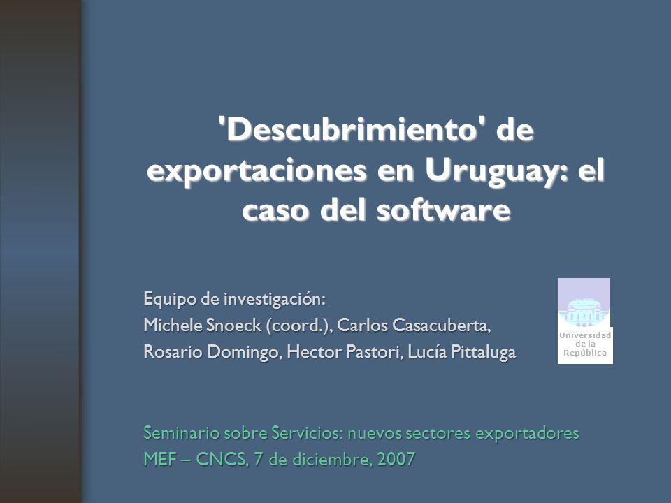 'Descubrimiento' de exportaciones en Uruguay: el caso del software Equipo de investigación: Michele Snoeck (coord.), Carlos Casacuberta, Rosario Domin
