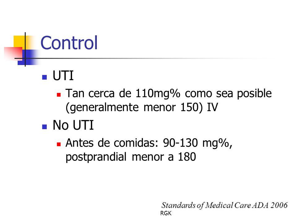 RGK Control UTI Tan cerca de 110mg% como sea posible (generalmente menor 150) IV No UTI Antes de comidas: 90-130 mg%, postprandial menor a 180 Standards of Medical Care ADA 2006