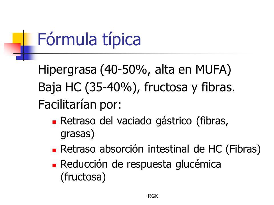 RGK Fórmula típica Hipergrasa (40-50%, alta en MUFA) Baja HC (35-40%), fructosa y fibras.
