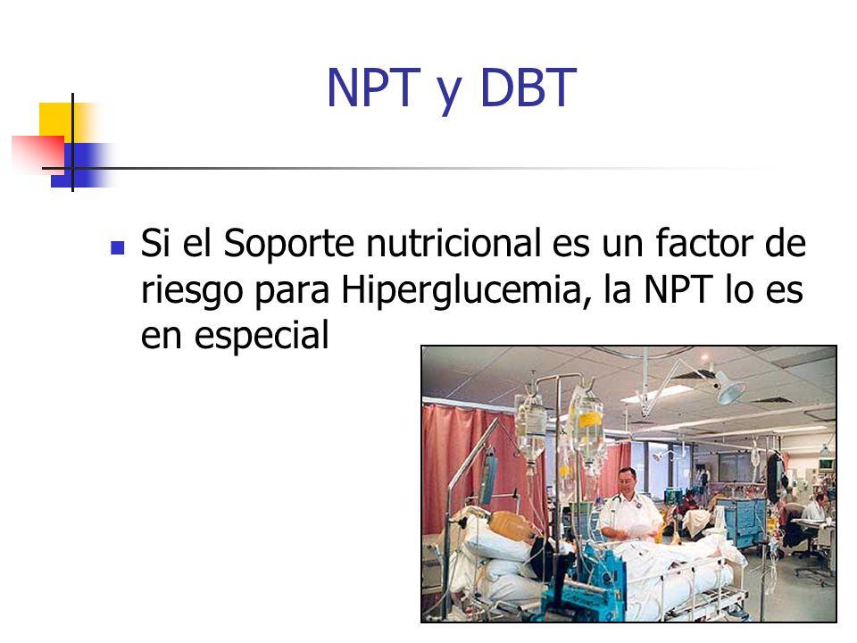 RGK NPT y DBT Si el Soporte nutricional es un factor de riesgo para Hiperglucemia, la NPT lo es en especial