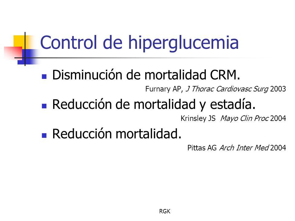 RGK Control de hiperglucemia Disminución de mortalidad CRM.