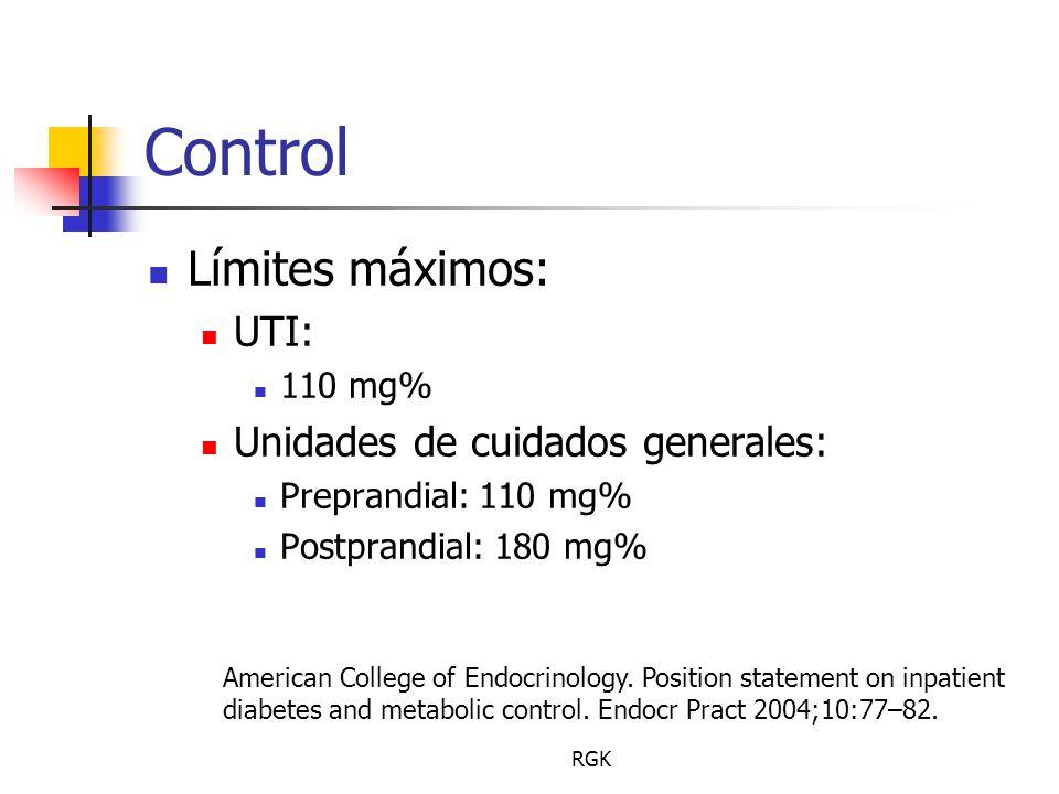 RGK Control Límites máximos: UTI: 110 mg% Unidades de cuidados generales: Preprandial: 110 mg% Postprandial: 180 mg% American College of Endocrinology.
