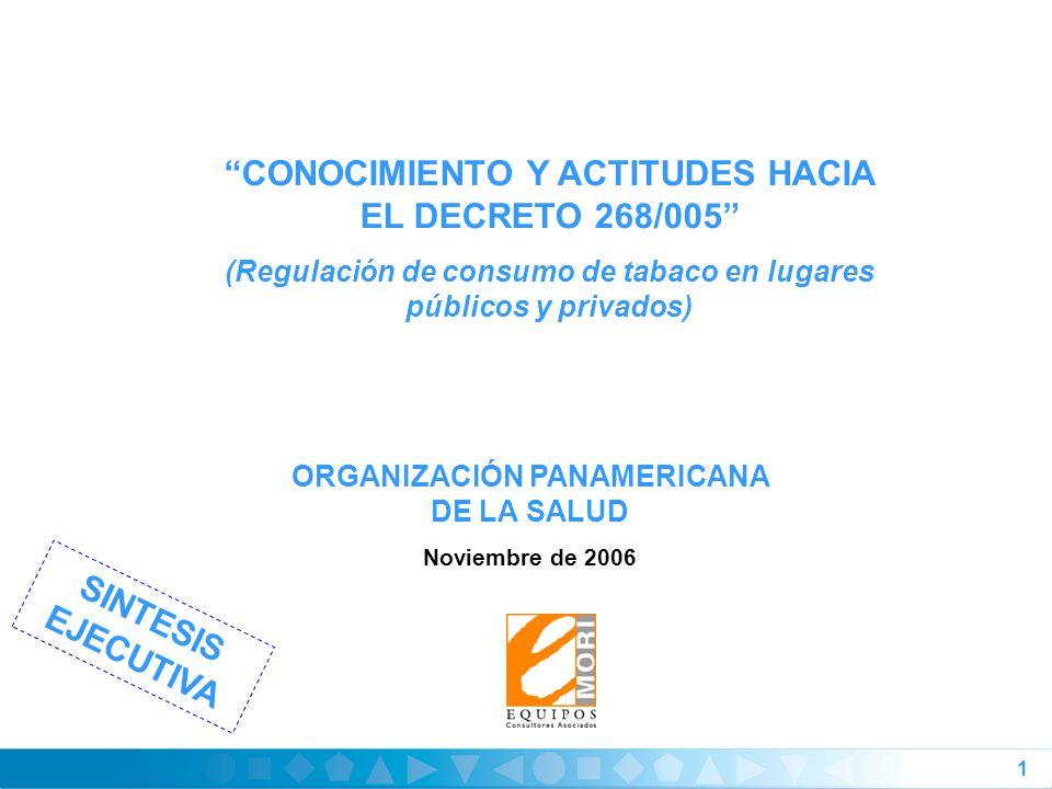 1 ORGANIZACIÓN PANAMERICANA DE LA SALUD Noviembre de 2006 CONOCIMIENTO Y ACTITUDES HACIA EL DECRETO 268/005 (Regulación de consumo de tabaco en lugares públicos y privados) SINTESIS EJECUTIVA