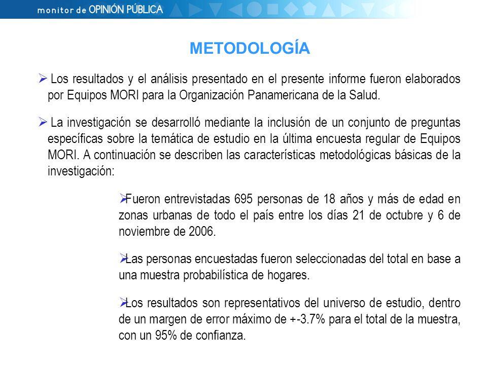 Los resultados y el análisis presentado en el presente informe fueron elaborados por Equipos MORI para la Organización Panamericana de la Salud.