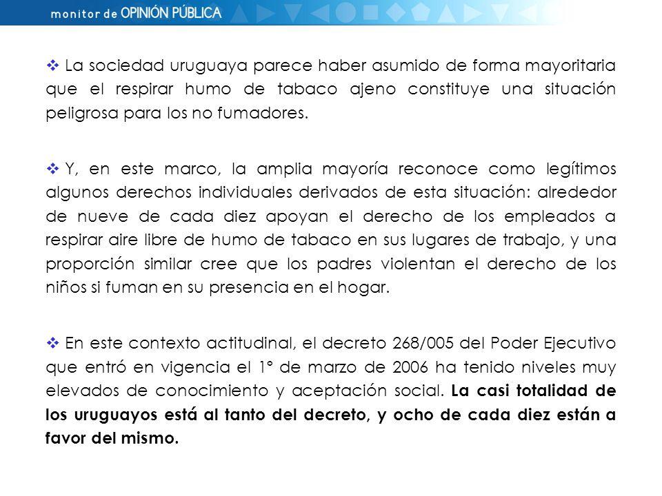 La sociedad uruguaya parece haber asumido de forma mayoritaria que el respirar humo de tabaco ajeno constituye una situación peligrosa para los no fumadores.