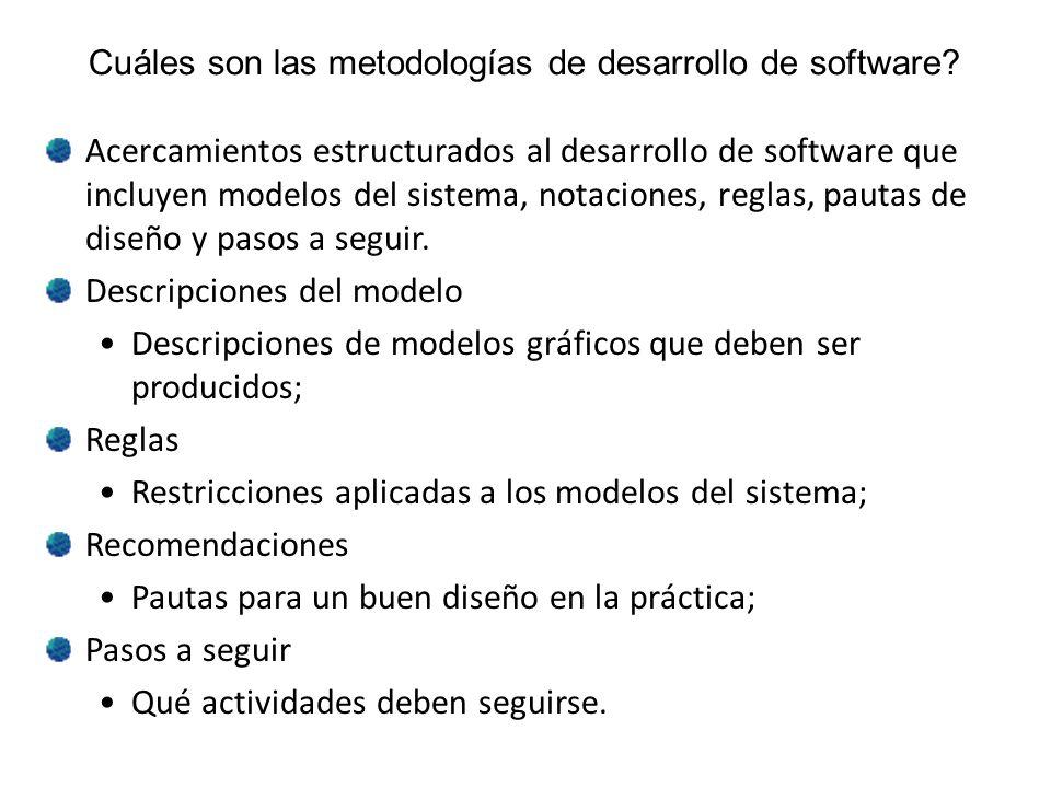 Cuáles son las metodologías de desarrollo de software? Acercamientos estructurados al desarrollo de software que incluyen modelos del sistema, notacio