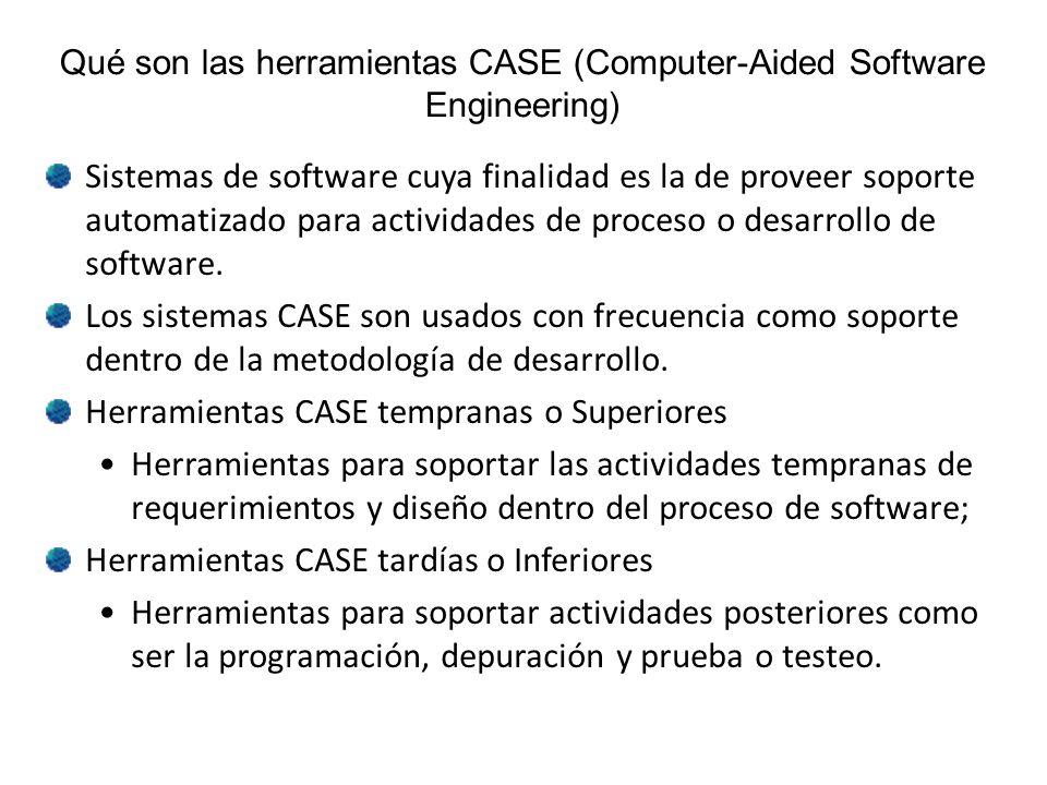 Qué son las herramientas CASE (Computer-Aided Software Engineering) Sistemas de software cuya finalidad es la de proveer soporte automatizado para act