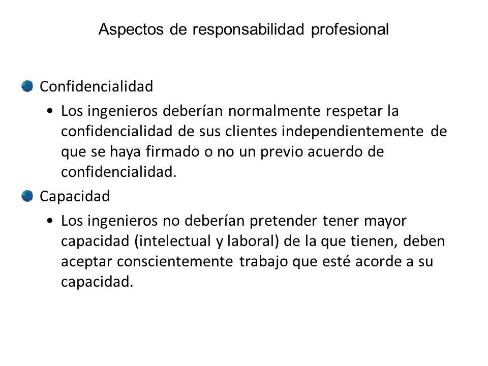 Aspectos de responsabilidad profesional Confidencialidad Los ingenieros deberían normalmente respetar la confidencialidad de sus clientes independient