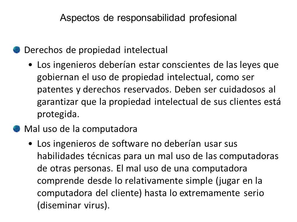 Aspectos de responsabilidad profesional Derechos de propiedad intelectual Los ingenieros deberían estar conscientes de las leyes que gobiernan el uso