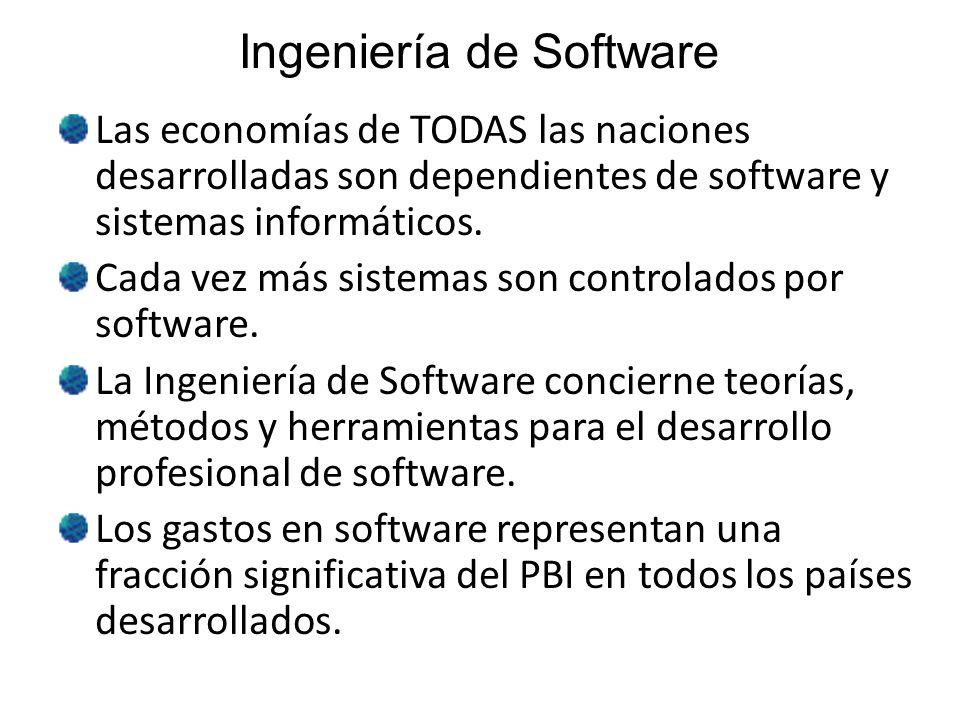Costos del Software Los costos del software a menudo dominan en los costos de un sistema computacional o informático.