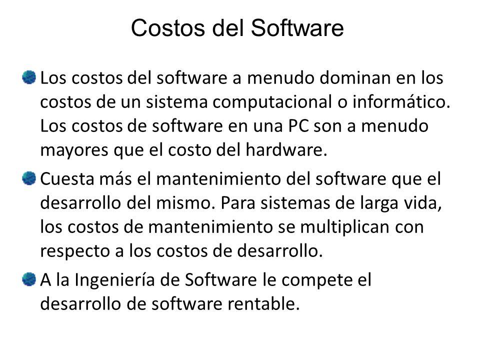 Costos del Software Los costos del software a menudo dominan en los costos de un sistema computacional o informático. Los costos de software en una PC