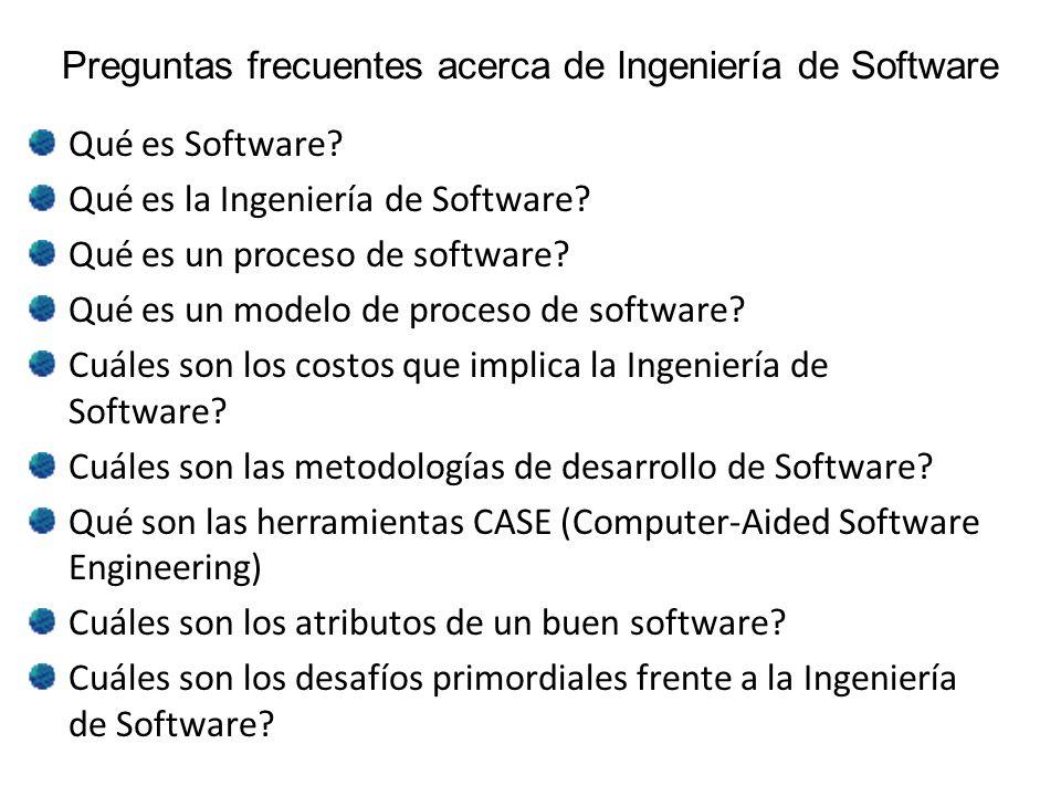 Preguntas frecuentes acerca de Ingeniería de Software Qué es Software? Qué es la Ingeniería de Software? Qué es un proceso de software? Qué es un mode