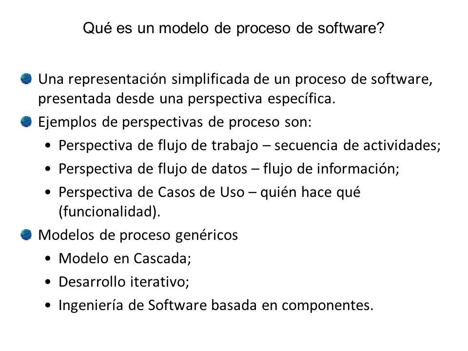 Qué es un modelo de proceso de software? Una representación simplificada de un proceso de software, presentada desde una perspectiva específica. Ejemp