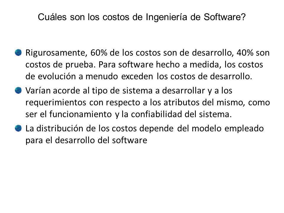 Cuáles son los costos de Ingeniería de Software? Rigurosamente, 60% de los costos son de desarrollo, 40% son costos de prueba. Para software hecho a m