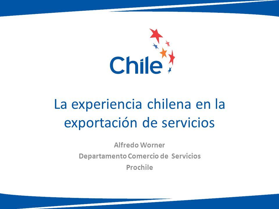 La experiencia chilena en la exportación de servicios Alfredo Worner Departamento Comercio de Servicios Prochile