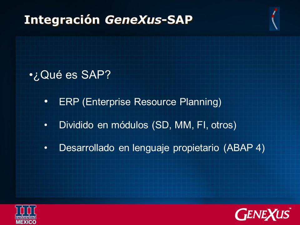 Integración GeneXus-SAP ¿Qué es SAP? ERP (Enterprise Resource Planning) Dividido en módulos (SD, MM, FI, otros) Desarrollado en lenguaje propietario (