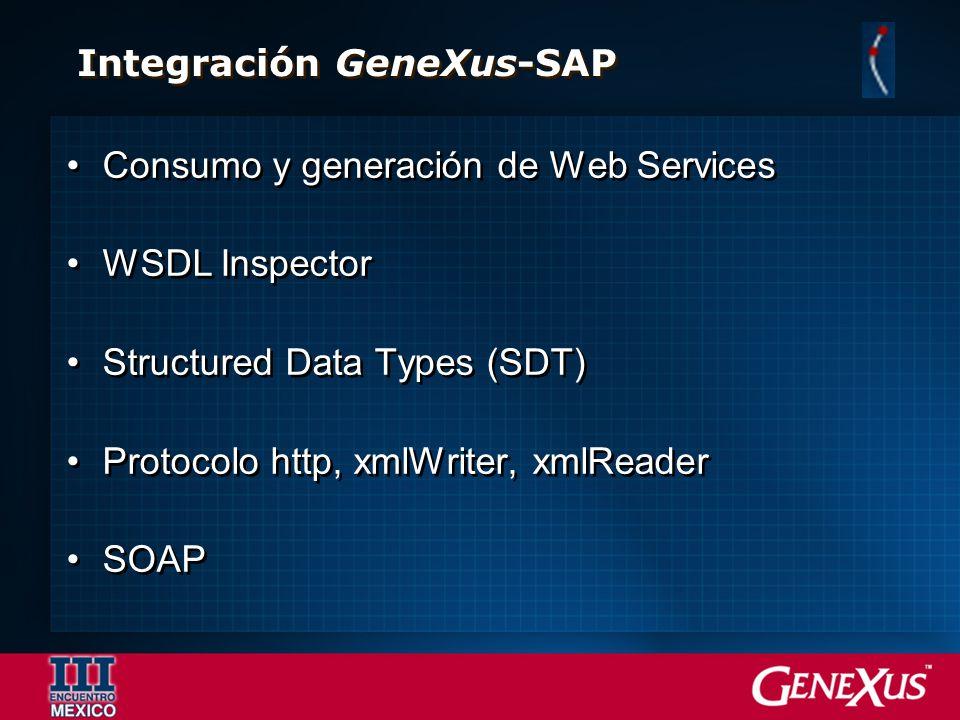 Consumo y generación de Web Services WSDL Inspector Structured Data Types (SDT) Protocolo http, xmlWriter, xmlReader SOAP Consumo y generación de Web