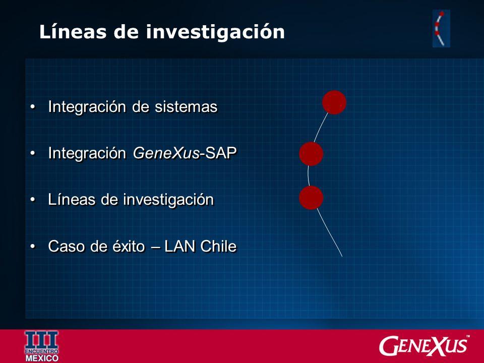Líneas de investigación Integración de sistemas Integración GeneXus-SAP Líneas de investigación Caso de éxito – LAN Chile Integración de sistemas Inte