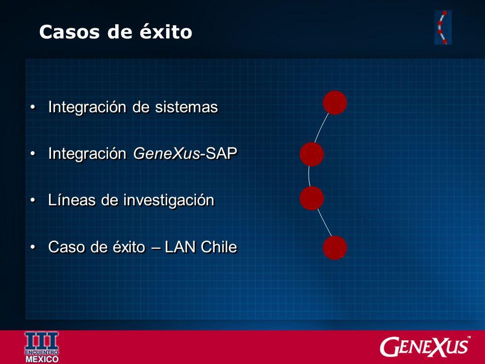 Casos de éxito Integración de sistemas Integración GeneXus-SAP Líneas de investigación Caso de éxito – LAN Chile Integración de sistemas Integración G