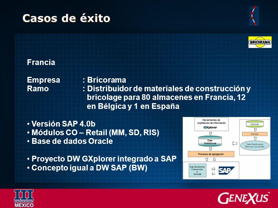 Casos de éxito Francia Empresa: Bricorama Ramo: Distribuidor de materiales de construcción y bricolage para 80 almacenes en Francia, 12 en Bélgica y 1