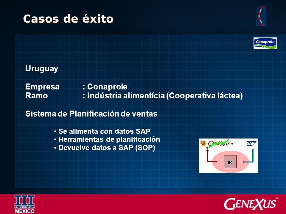 Casos de éxito Uruguay Empresa: Conaprole Ramo: Indústria alimentícia (Cooperativa láctea) Sistema de Planificación de ventas Se alimenta con datos SA