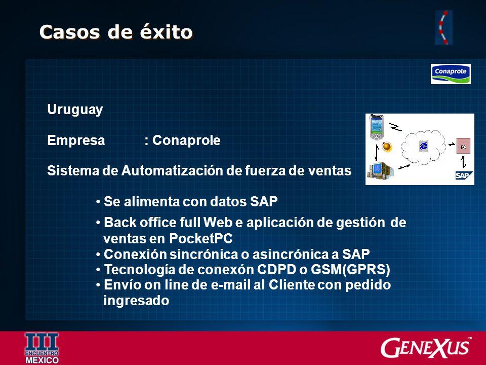 Casos de éxito Uruguay Empresa: Conaprole Sistema de Automatización de fuerza de ventas Se alimenta con datos SAP Back office full Web e aplicación de