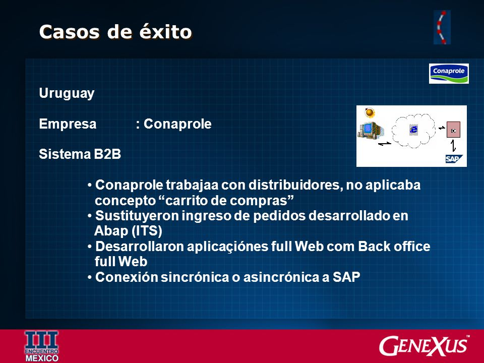 Casos de éxito Uruguay Empresa: Conaprole Sistema B2B Conaprole trabajaa con distribuidores, no aplicaba concepto carrito de compras Sustituyeron ingr